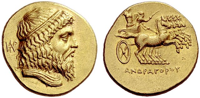 G363 A Rare and Magnificent Greek Gold Stater of Andragoras, Satrap of Parthia [Ectabana mint], an Exceptionally Elegant Specimen