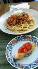 Spaghetti Bolognese with Bruchetta