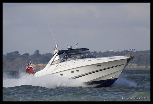 Sunseeker Mustique 42. Off Cowes, Isle of Wight, UK