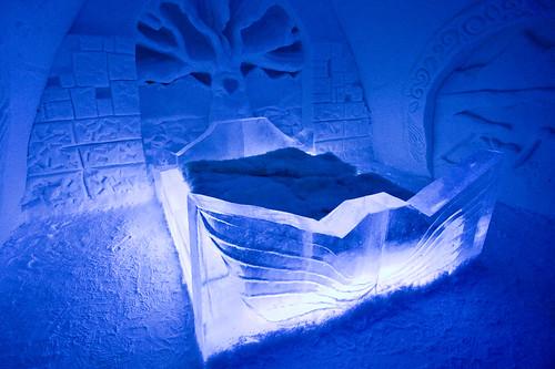 light snow castle ice finland hotel bed glow illumination suite kemi