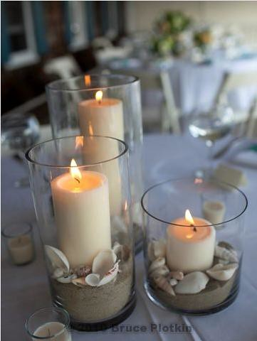 Beach Wedding Centerpiece Sand shells candles