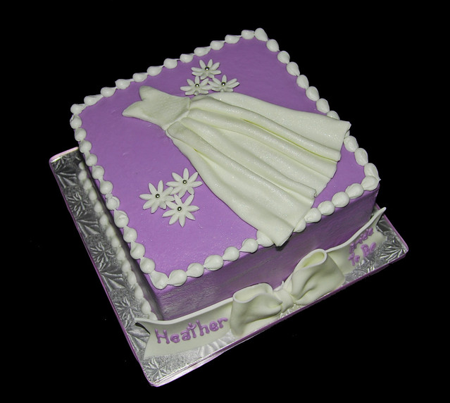 Silver Wedding Dresses For Older Brides: Purple, White And Silver Bridal Shower Cake With Wedding
