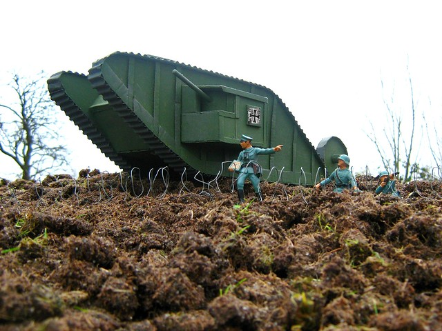World war one mark i tank made from cardboard and recycled materials