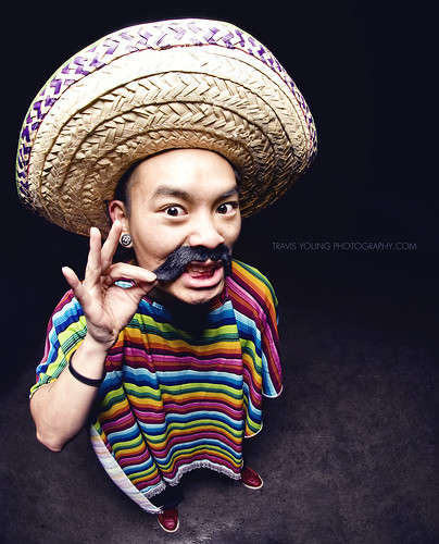 selfportrait asian costume fisheye mexican sombrero poncho fakemustache nikkor105mmf28 alienbees beautydish strobist nikond300 travisyoungphotography