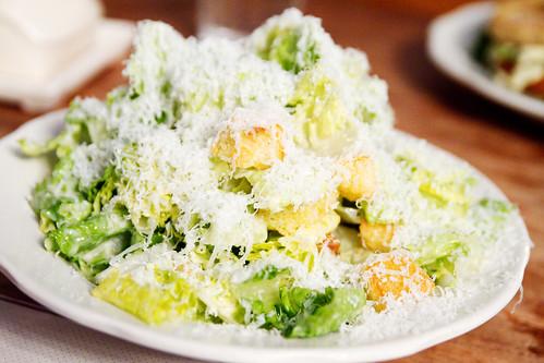 Caesar salad with smoked herring dressing