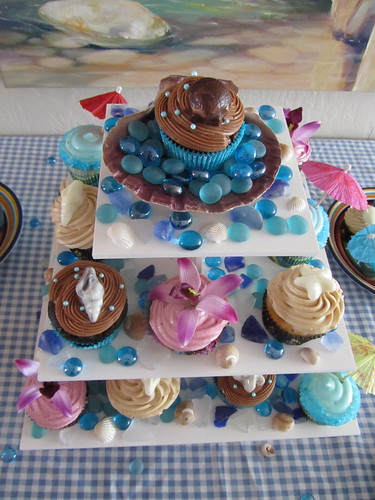 Beach Inspired Cupcake Tower