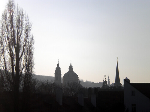 Smoky Prague skyline
