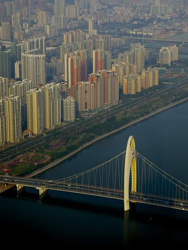 guangzhou china city bridge river guangdong tvtower pearlriver southchina