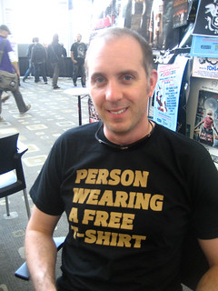 Person wearing a free T-shirt