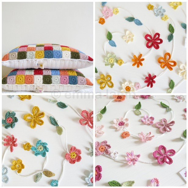 Handmade crochet cushion covers and Blossom flower garlands by Emma Lamb
