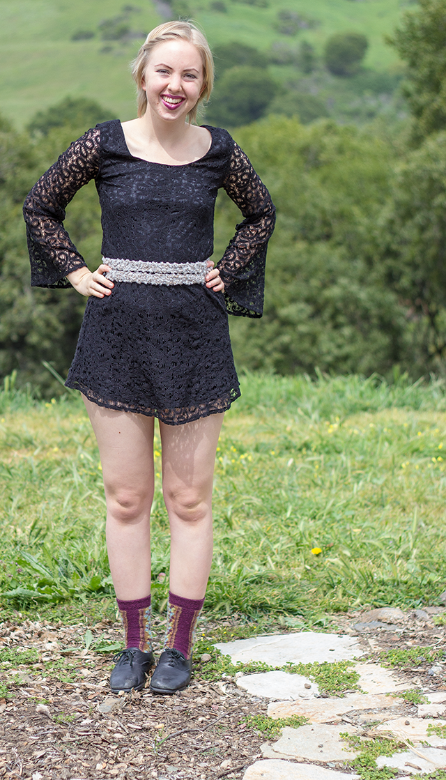 black lace mini dress, grey knitted sash