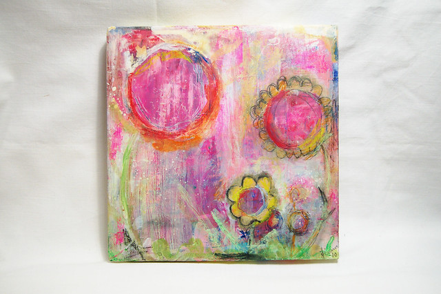 Mixed Media painting Flower Power