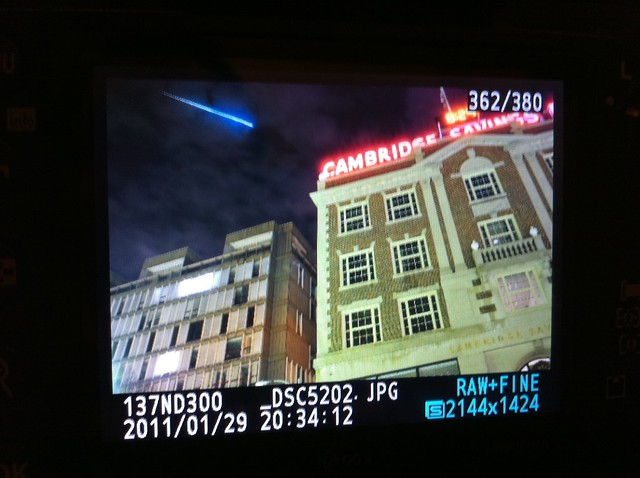 Meteor over Harvard Square. A super-rare meteor photograph.
