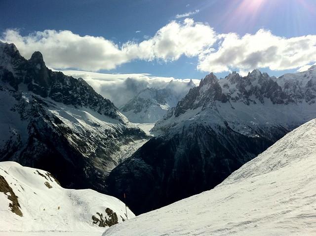 Snowboarding at La Flégère, Chamonix Mont-Blanc, France