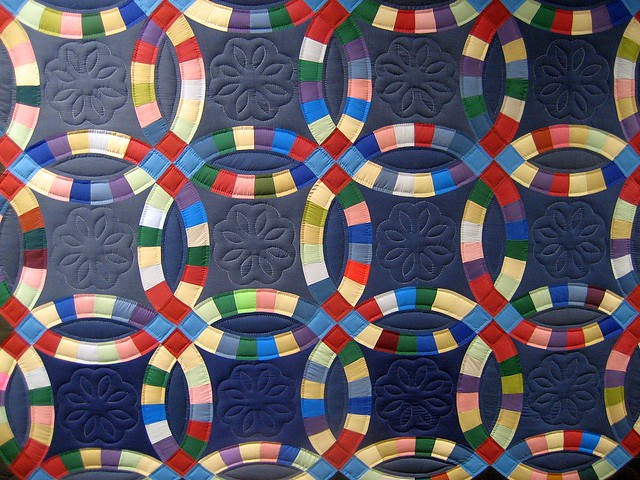 wedding ring quilt at the diagnostic center hangs