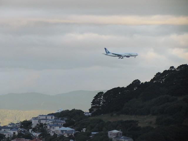 Air New Zealand rescue 777-200ER flight from Christchurch landing at Wellington