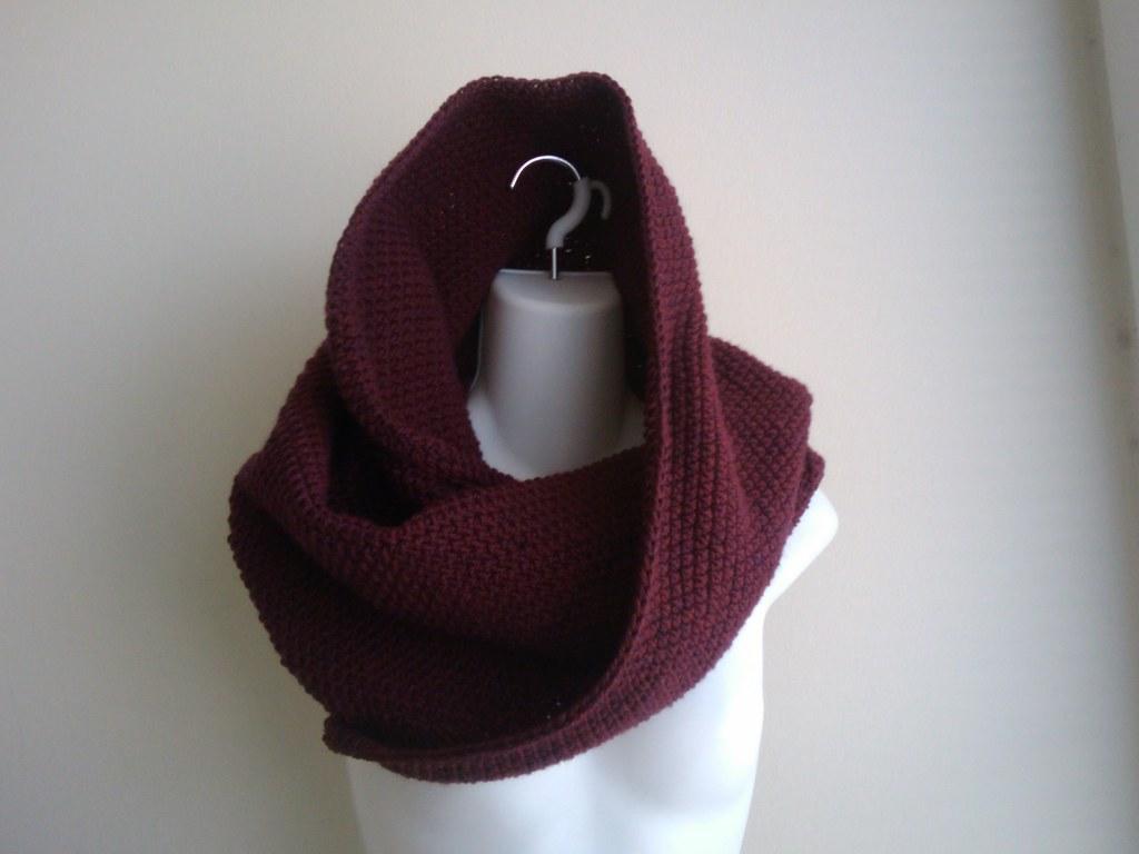 Nikki- Wool Infinity Hood Cowl Burgundy Claret