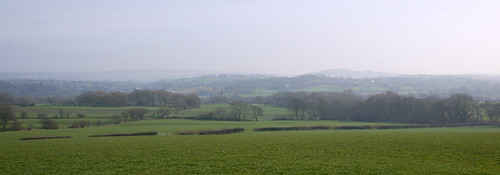 The view towards the West Pennine Moors from Denham Lane