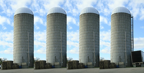 four silos in a row