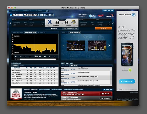 Post Show Screen from NCAA 2011 March Madness On Demand Web App