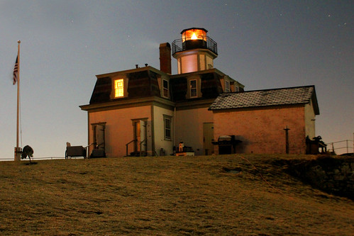 Rose Island Lighthouse at night