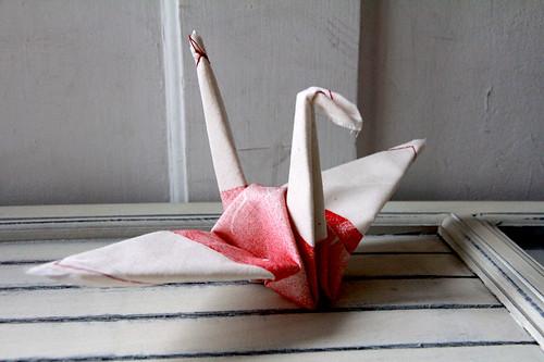 "Japan Earthquake Tsunami Relief - ""Always Rising After a Fall"" Fabric Origami Crane"