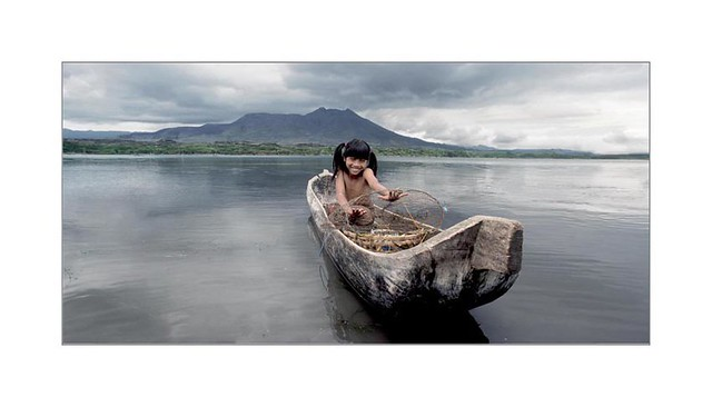 Boat on lake Batur