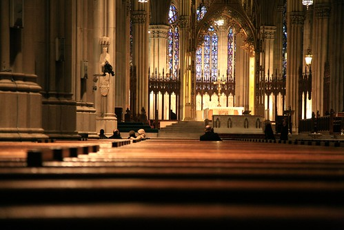 New York City, 5th Ave, Basilica of St. Patrick's Cathedral, 1858-78. benches