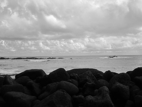 ocean blackandwhite clouds hawaii rocks snorkel ahalanui hotpond