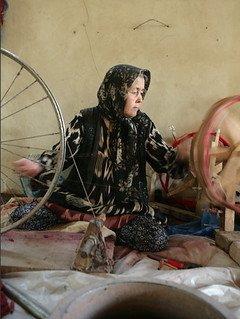 Woman spins wool - Hotan silk factory | by retrotraveller