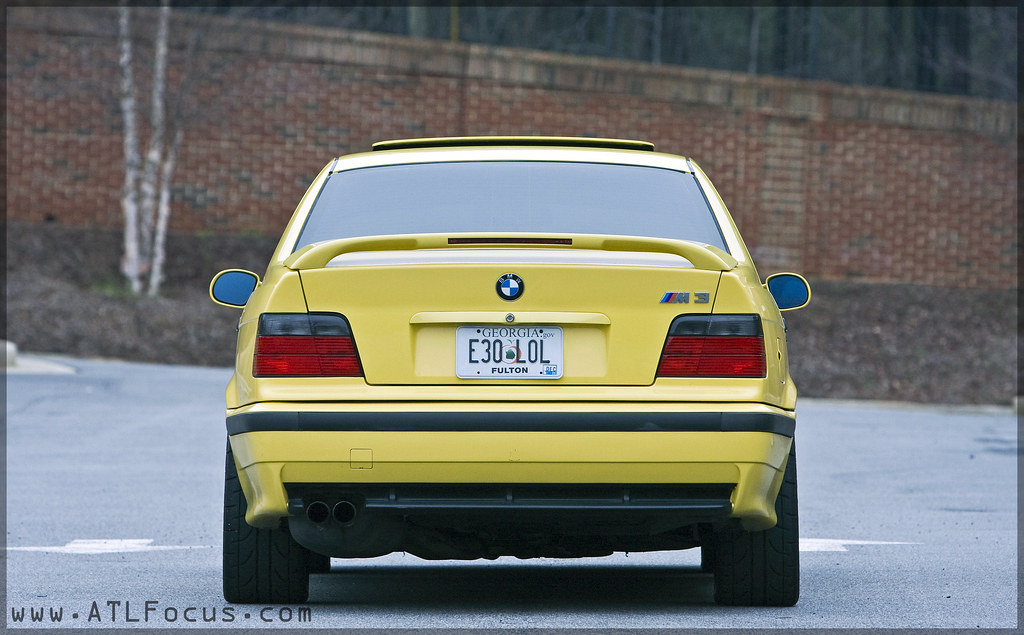 BMW E36 M3 Sedan Dakar Yellow  <a href='http://www.tirerack.com/a.jsp?a=AB2&url=/wheels/bbs/bbs.jsp' target='_blank' class='gal'>BBS</a> RK AST Coilover 4