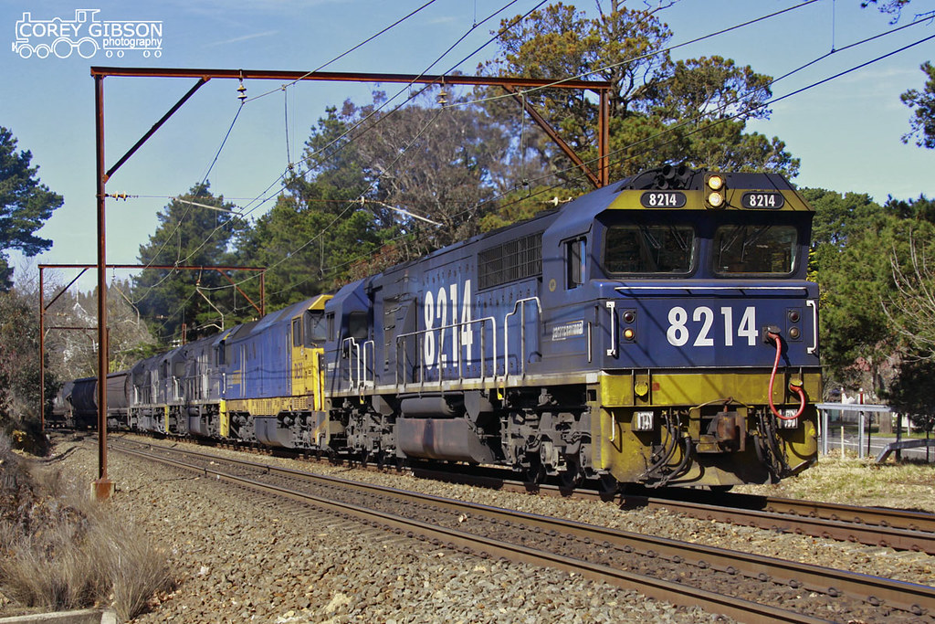 8214, DL38, 8203 & 8218 near Leura with an empty coal train as it climbs through the Blue Mountains by Corey Gibson