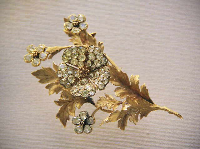 Flower bouquet with a wild rose trembler spray, English or French, about 1880