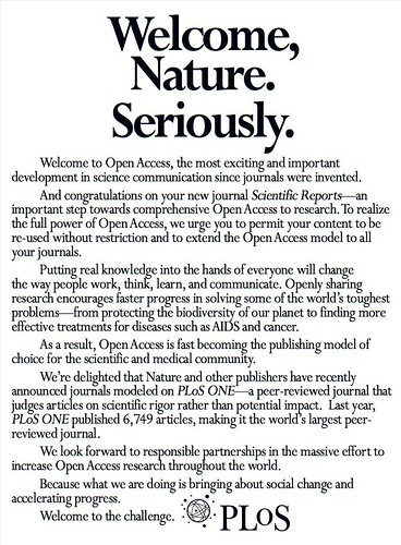 Welcome, Nature. Seriously (from PLoS)