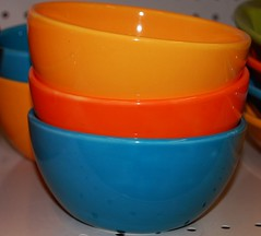 orange, bowl, cobalt blue, tableware, mixing bowl, ceramic, blue,