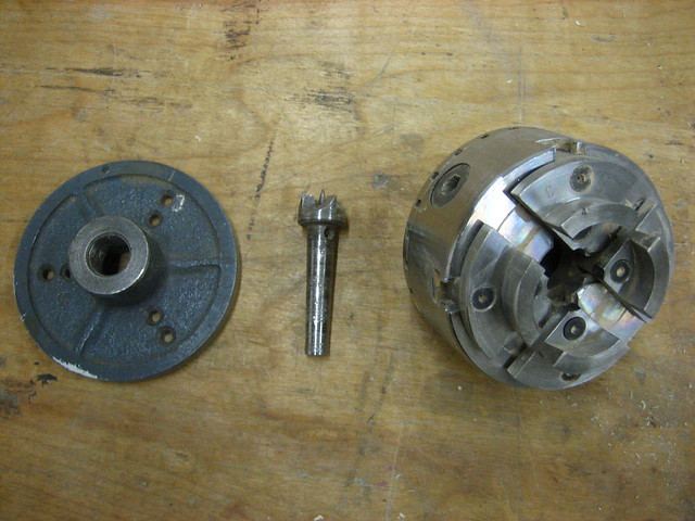 Faceplate, drive center, and 4 jaw chuck