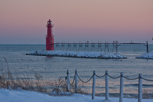 winter red lighthouse white cold wisconsin sunrise lakemichigan