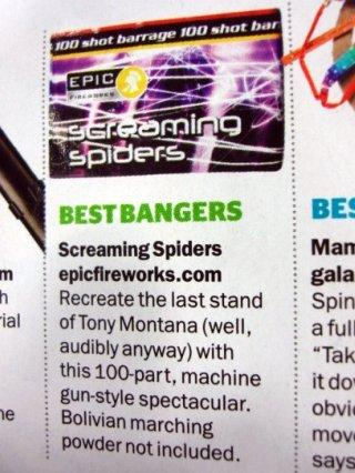 Men's Health Magazine - Screaming Spiders #EpicFireworks