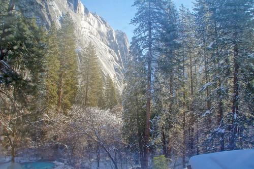 california winter snow ice nationalpark yosemite viewfromhotelwindow