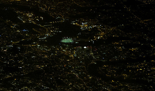 Night aerial view over east London