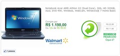 Notebook Acer AMD Athlon X2 (Dual Core), 3Gb, HD 320GB, Azul, DVD-RW, Wireless, Webcam, Windows® 7 Home Basic