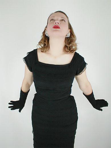 50s Vintage Black Rayon Lace Tiered Sheath Dress 2
