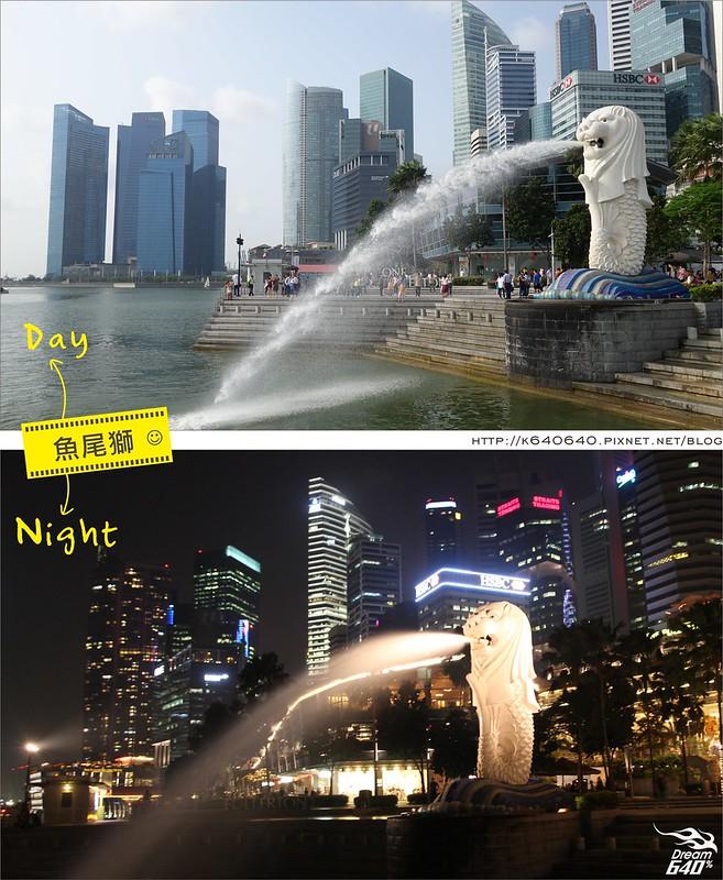 新加坡日夜對照-魚尾獅