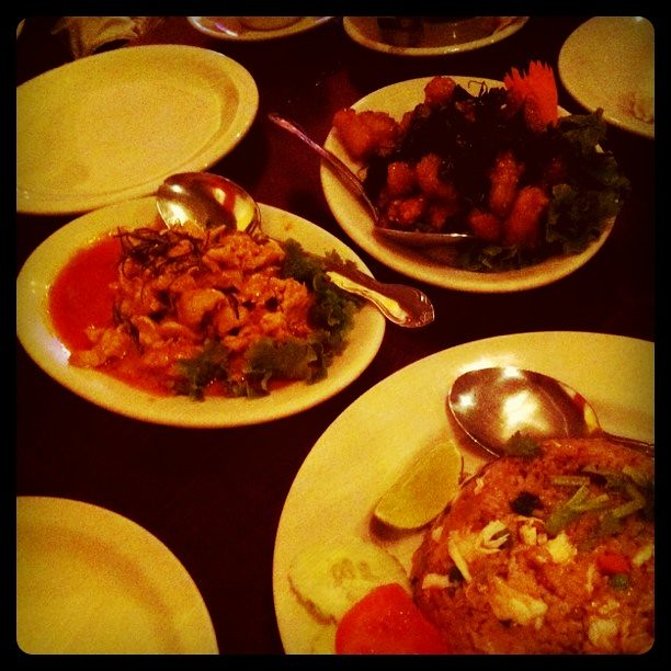 Crispy squid with basil, Panang curry, crab fried rice   Flickr ...