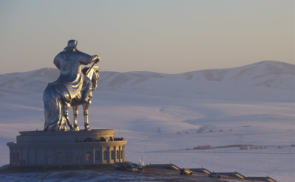 The Chingis Khaan monument in the Morning sunraise.