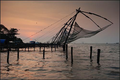 travel sunset india evening fishing chinese kerala nets 2011
