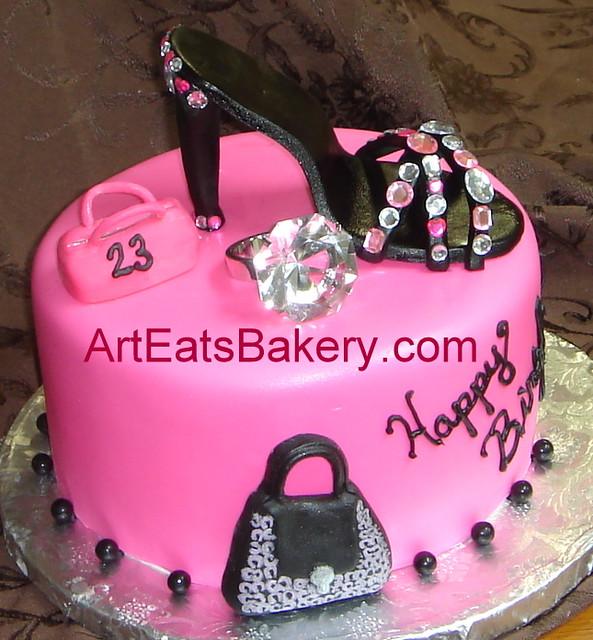 Pink fondant custom Diva birthday cake with black sugar ...