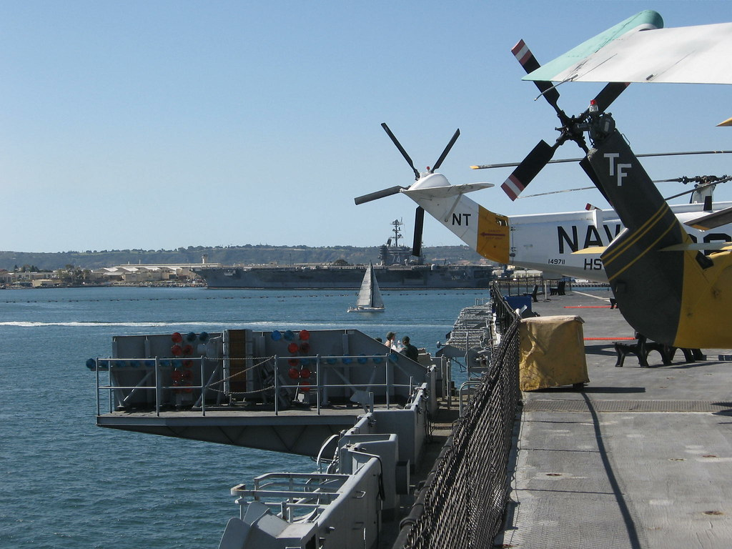 THE BALL (Fresnel Optical Landing System) when lit is a landing aid for pilots - USS STENNIS in the background 2-22-11
