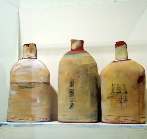 Contemporary art, three labeled ceramic bottles, 3rd floor, Building 110, Microsoft Art Collection, Redmond, Washington, USA by Wonderlane