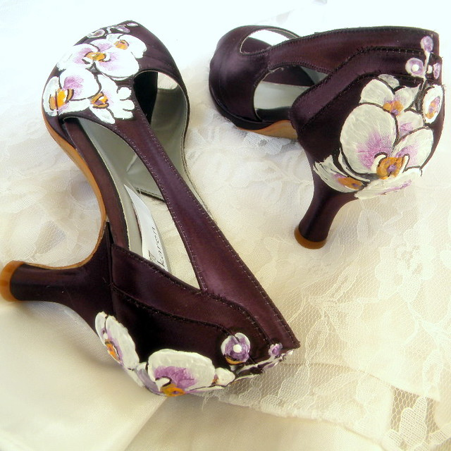 ORCHID Wedding Shoes painted Orchids victorian aubergine peep toe platforms